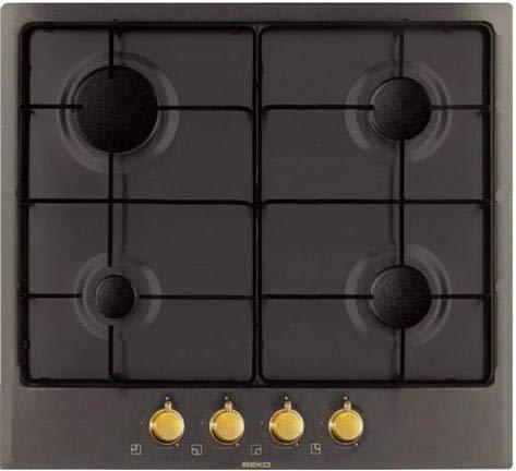 Cocina de gas, 4 fuegos, ancho 60 cm, color antracita