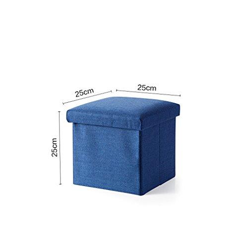 KKY-Enter Tabouret carré Multifonction Haute capacité Coton et Lin en Coton de Haute qualité Boîte de Rangement Pliante Tabouret de Tabouret de Sofa, 25 * 25 * 25cm (Couleur : Bleu Marin)