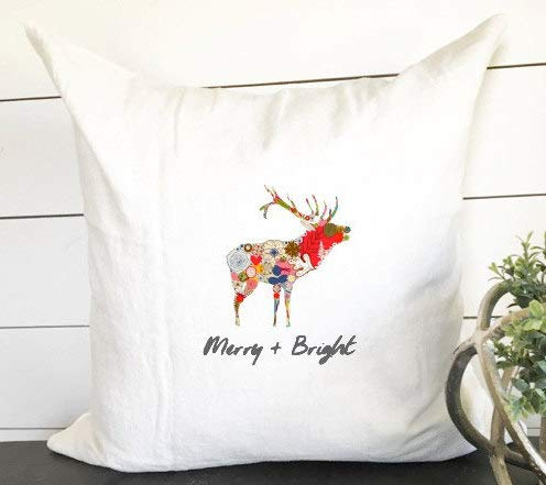 PotteLove Merry and Bright Eclectic Reindeer, Christmas Pillow Cover, Boho Christmas Decor,...
