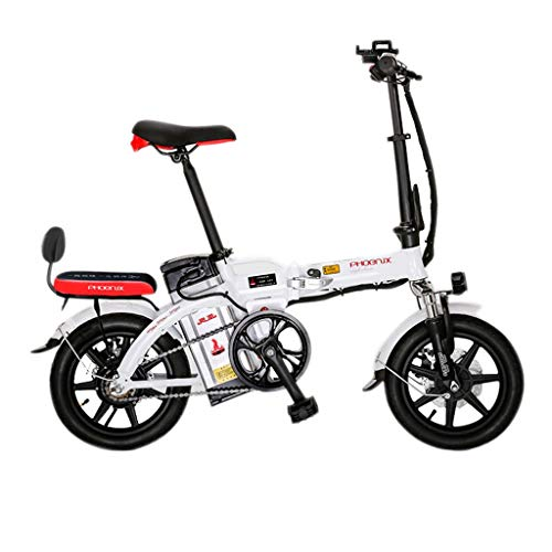 Bici elettriche Batteria Elettrica Piegante A 14 Pollici della Bicicletta 48V Elettrica per Gli Uomini E Le Donne Bicicletta Elettrica Adulta, Durata 45-50km (Color : Bianca, Size : 123 * 30 * 93cm)