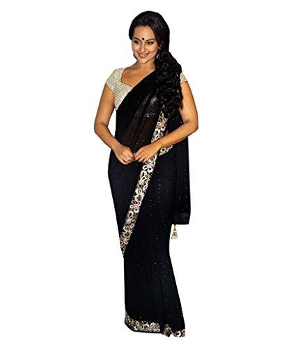 1234 Sonakshi Sinha IIFA 2012 Black Chiffon Saree