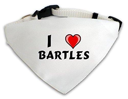 Personalisierter Weißer Hundschal mit Aufschrift Ich liebe Bartles (Vorname/Zuname/Spitzname)