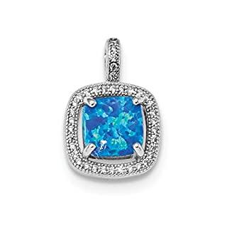 925 Sterling Silver Blue Square Created Opal Cubic Zirconia Cz Pendant Charm Necklace Fine Jewelry Gifts For Women For Her