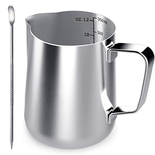 Jarrita de leche Ding Heng de 350mlJarra de leche de acero inoxidable para hacer espuma Krug Art, jarra para espuma +  aguja Latte Art / punta de decoración para barman, color plata