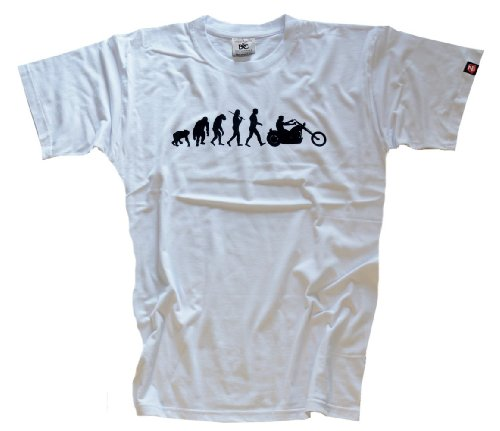 Shirtzshop Erwachsene T-Shirt Original Chopper Motorrad Evolution, Weiß, XXXL, sshop-evochopp-t