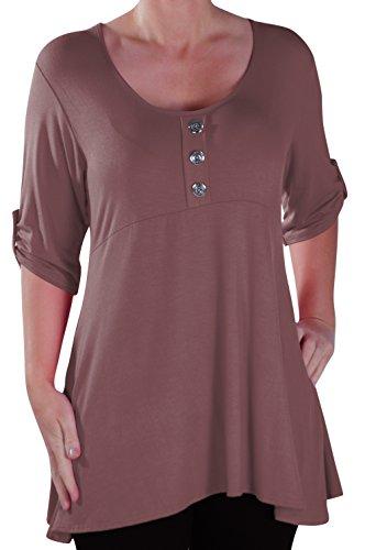 EyeCatch - Eva Aux femmes Bouton Avant Aavec Encolure Dégagée Tunique Grande Taille Dames T-shirt Long Tops Moka