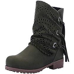 2018 Moda Botas de Alto talón Otoño Invierno Zapatos Mujer Botines de tacón Grueso con Cordones Mujer Martin Botines Altos Talones Botas de Nieve Warm Piel Zapatos