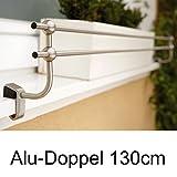 Blumenkasten Doppel-Halterung 130 cm, für Alu-Fensterbänke, Montage ohne Bohren