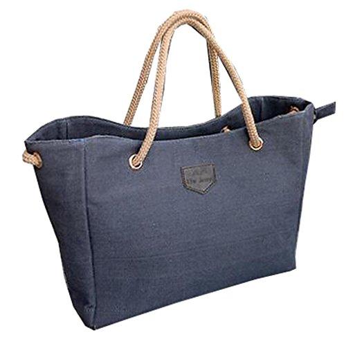 Hengsong Style Mode Toile Sac à contrat Grand Sac Shopping Bag Sac à bandoulière pour les Femmes Bleu