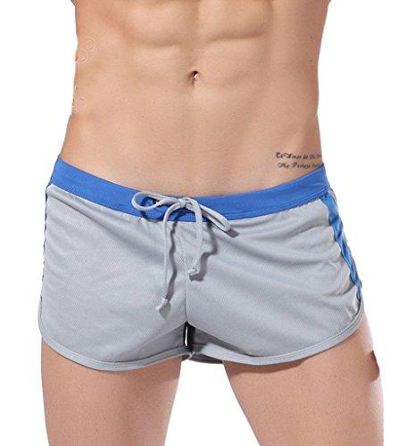 Lorata Sport für Shorts Männer Kurze Breathable Hose Jogginghose Pants Jogging Yoga Strumpfhosen Grau