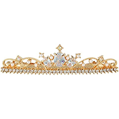 EleQueen Women's Gold-tone Cubic Zirconia Simulated Pearl Crystal Sparkly Crown Hair Pins Clear