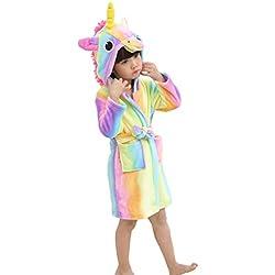 XINNE Unicornio Albornoz con Capucha Niños Niñas Pijamas De Franela Bata Unisex Bebé Ropa De Dormir Otoño Invierno Camisón Tamaño 140