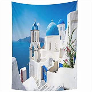 Tapestry Art Decor, Wall Hanging Tapestries 60 x 80 inches Scenic View Traditional Cycladic White Houses Blue Domes Oia Village Santorini Island Greece Tapestry for Home Bedroom Living Room Dorm
