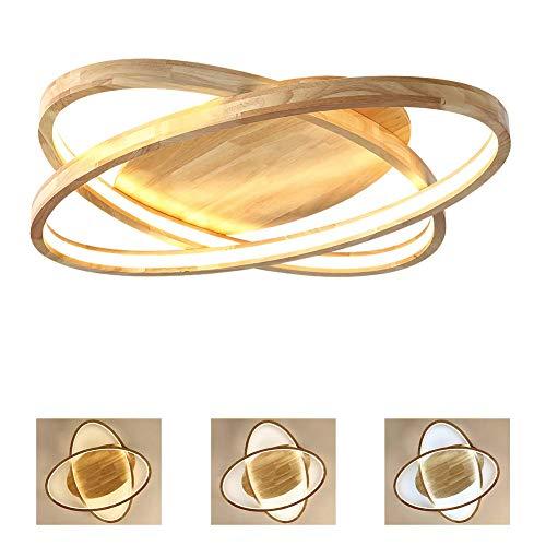 Led Dimmbare Holzdeckenleuchte, Moderne Kurz 2 Ringe Deckenleuchte, Fernbedienung, Acrylmaterial Schatten, Für Schlafzimmer Und Wohnzimmer Und Leseraum Deckenleuchte,70cm -