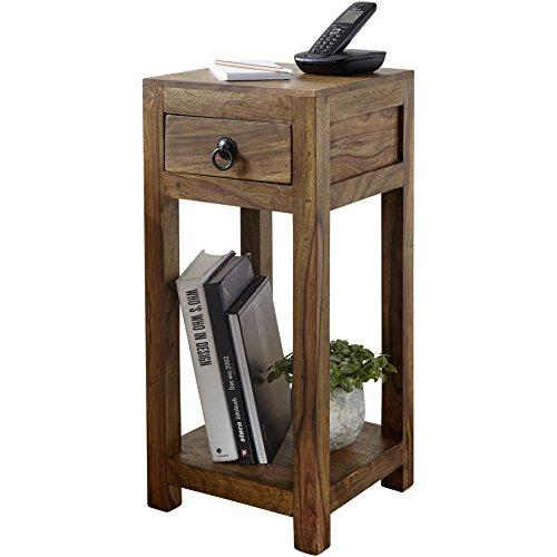 WOHNLING Beistelltisch Massiv-Holz Sheesham 68cm hoch Wohnzimmer-Tisch mit Schublade Design Landhaus-Stil Couchtisch Natur-Produkt Wohnzimmermöbel Unikat modern Massivholzmöbel Echtholz Anstelltisch
