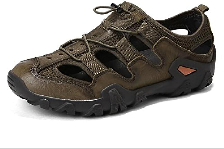 QSYUAN Zapatos De Hombre Verano Nuevo Cuero Zapatos De Playa Al Aire Libre Pies Y Comodidad Respirable Antideslizante...