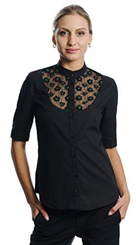 DONNA DESSA 4 Designer Oberteil, schwarze Damen Bluse, Spitze, Business Buero Hemd, S