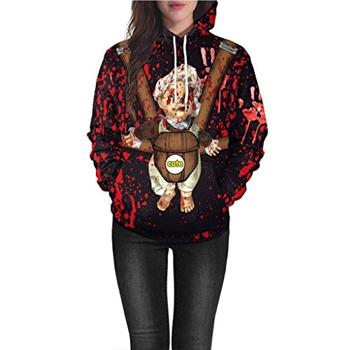 Halloween Kleider 3D Drucken Cosplay Halloween Damen Sweatshirt Oberteile Langarm T-Shirt Tops Tunika Hemd Pulli Schulter Druck-Jumper Pullover Oberteile- Lose Bluse(Wein,L)