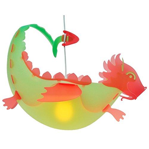 Lampe suspension dragon vert et rouge