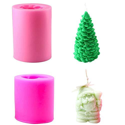 Weihnachtsbaum Weihnachtsmann Kerze Seifenformen Silikon Fondantform Schokoladenkuchen Dekorieren Backform für Weihnachtsgeschenk Hausgemachte DIY Sugarcraft Pack von 2