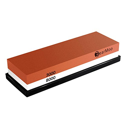 Whetstone, BearMoo Knife Sharpening Stone 3000 / 8000 Grit Combination Waterstone Sharpener- Rubber Stone Holder Included Test
