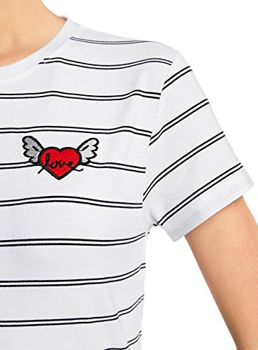 oodji Ultra Damen Gestreiftes T-Shirt mit Applikation Weiß (1079S)