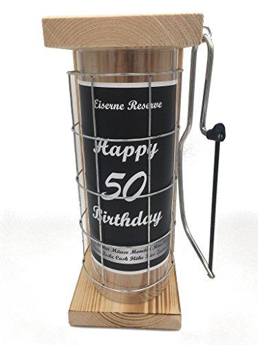 Happy Birthday 50 Eiserne Reserve Spardose incl. Säge zum zersägen des Gitter, Geldgeschenk, das andere Sparschwein, witzige Sparbüchse, Geschenkidee