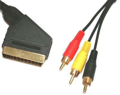 Scart Gold Video Kabel (5m Scart-bis dreifach Cinch-Kabel - Premium-Qualität / 24k gold / Audio / Video / av / komplett verdrahtet Scart / 21-pin / 3xRCA / 3RCA)