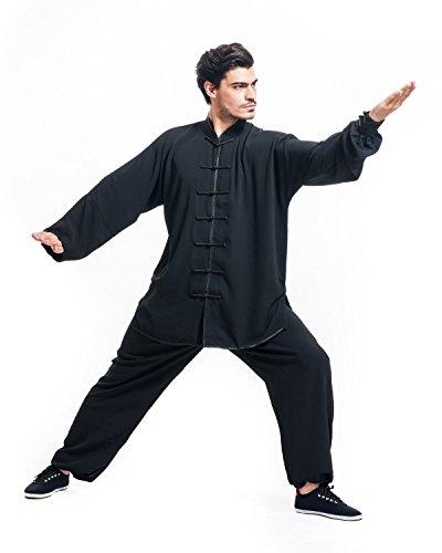 ICNBUYS Herren Kung Fu Tai Chi Anzug Schwarz XXXL