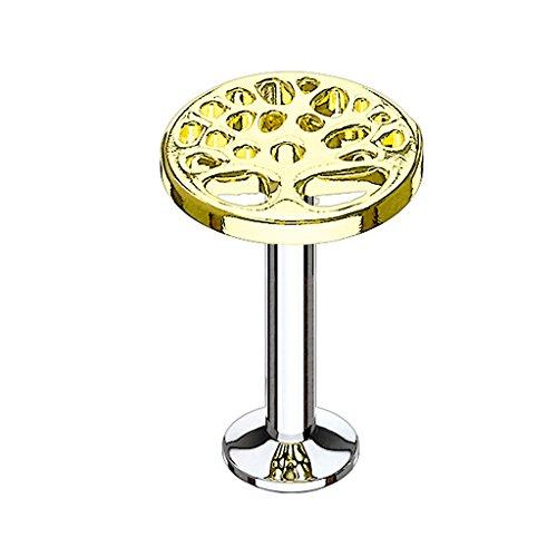Piercingfaktor® Piercing Stecker Platte mit Lebensbaum Vintage Motiv für Lippe Helix Ohr Ear Tragus Cartilage Monroe Labret Stud Gold 6mm