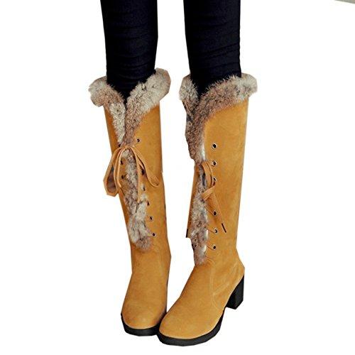 TAOFFEN Damen Mode Blockabsatz Schnee Stiefel Lacing lange Stiefel Gelb