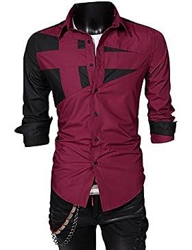 Quge Uomo Maglietta a Manica Lunga Camicia Casual Slim Fit Giuntura Personalità Shirts Camicie