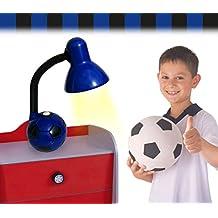 Lámpara de escritorio infantil para niño y niña con motivo de PELOTA DE FÚTBOL - Azul-negro