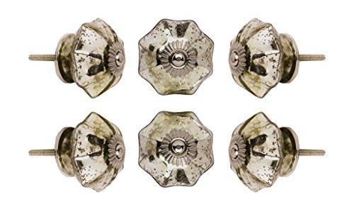 Satz von 4 Glas Spiegel Melone Kabinett Knöpfe Küchenschrank Kommode Türknauf Kleiderschrank Schublade Pull von Trinca-Ferro -