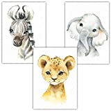 Frechdax® 3er Set Kinderzimmer Poster Kinderzimmer Deko Bilder DIN A4 | Waldtiere Safari Afrika Tiere Porträt Tierposter (3er Set Elefant, Löwe, Zebra)