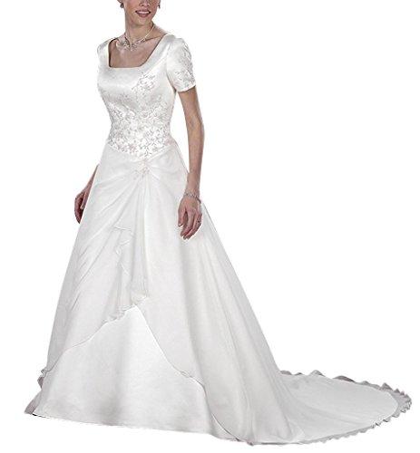 GEORGE BRIDE Kurzen aermeln Vierkantansatz Chiffon ueber Satin Kapelle Zug Brautkleider Hochzeitskleider Elfenbein