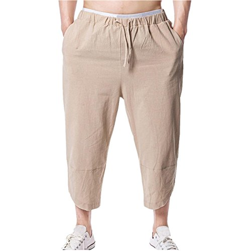 Lange Hosen Herren, Sommer Casual Loose Einfarbige Linen Sweatpant Trainingshose Sporthose Freizeitshose in Vielen Farben (XL, Khaki) (Cargo Linen-blend Shorts)