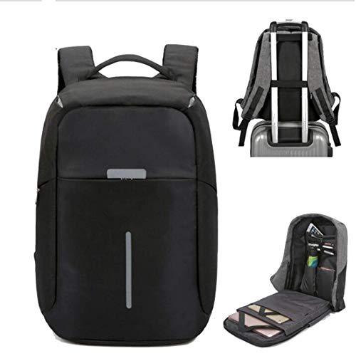 Laptop-Rucksack, Freizeit Business-Anti-Diebstahl-Rucksack mit USB-Ladeanschluss Wasserdichte Schule Rucksack Laptop-Taschen für College-Work Travel, 15-Zoll-PC-Beutel-Schwarz, 15inch