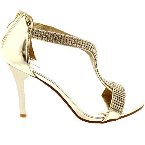 Damen T-Bar Abend Diamante Verkrusteten Hochzeit Abschlussball Sandalen - Gold - 39 - CD0164D 3G4mPo