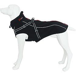 Abrigo para Perros con Arnés Integrado para Mediano y Grande Chaqueta Traje Refectante Caliente en Invierno Negro L Treat Me