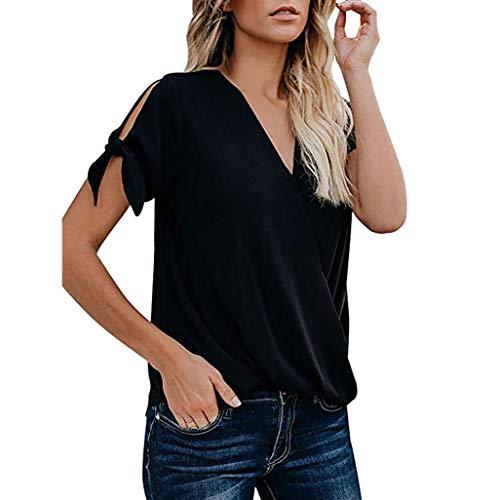 OSYARD Kurzarm Oberteile Sommer T-Shirt Frauen Kleidung Damen Casual V-Ausschnitt Lose Bluse Tops Tee Tunika mit Schleife
