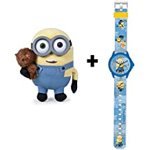 MINIONS: Peluche Bob MINION con su osito mascota 28cm + Reloj analógico infantil MINIONS.
