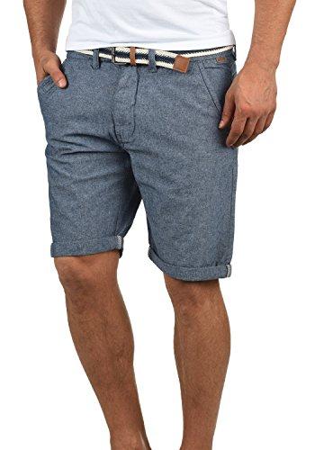 Indicode Mews Herren Chino Shorts Bermuda Kurze Hose Mit Gürtel Aus 100% Baumwolle Regular Fit, Größe:M, Farbe:Mid Indigo (858)