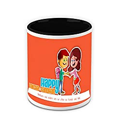 HomeSoGood Happy Rakhi White Ceramic Coffee Mug - 325 ml