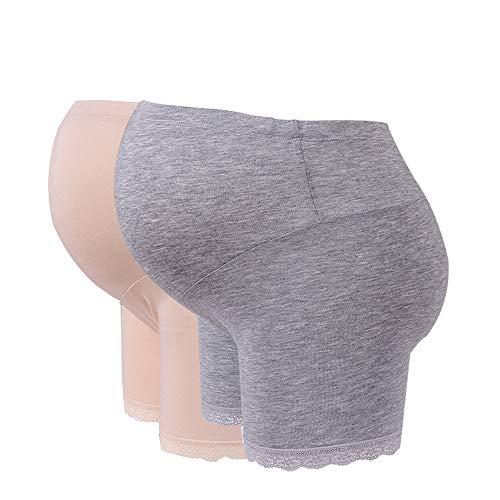 BOZEVON Pack de 2 Pantalones Cortos de Ropa Interior de la Cintura Embarazada Cómodo Pantalones de Maternidad Modales de Algodón