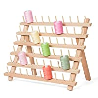 HAITRAL Wooden Folded Thread Rack, 60-Spools Sewing Thread Holder Organizer, Sewing Embroidery Spools Storage Holder, Sewing Craft Tools Gift