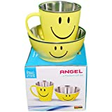 Myesha Home 2 Piece Smiley Double Wall Stainless Steel Cutlery Gift Set, Multi Color