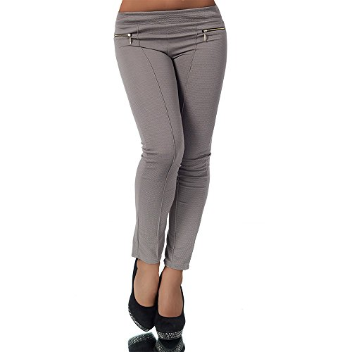 H820 Damen Hose Treggings Leggings Stoffhose Röhrenhose Leggins Gerades Bein Coffee