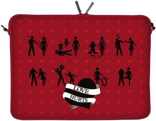Digittrade LS106-15 Love Hurts  Designer Notebooktasche 15,6 Zoll (39,1 cm) aus Neopren Notebook-Hülle Sleeve Tasche Schutzhülle Cover Case Bag rot-schwarz
