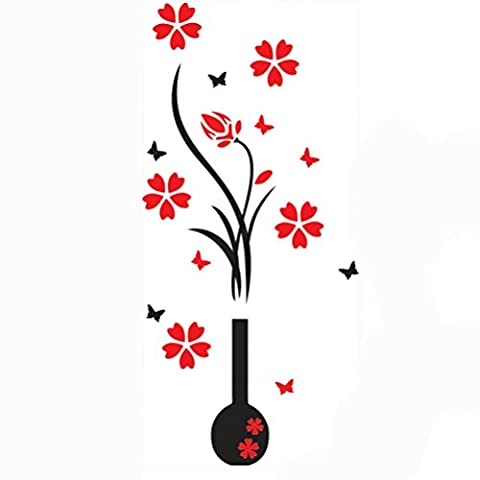 Kolylong Stickers Muraux 3D Stickers Muraux Diy Deco Vase Fleur Stickers Arbre De Cristal Acrylique Decal Home Stickers Decoration Cuisine (102*46CM, B)